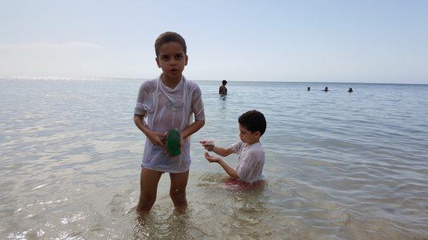 La playa es excepcional para niños pequeños. Los míos van desde los 3 meses.